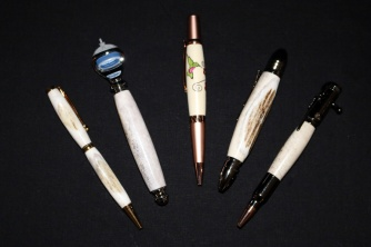 Antler pens and razor handle brought to you by Alpine Lumber