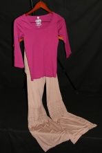 Berry knit top and crochet pant by Dolce Botique