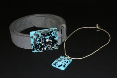 Glass art necklace and belt by Miss Olivia's Line